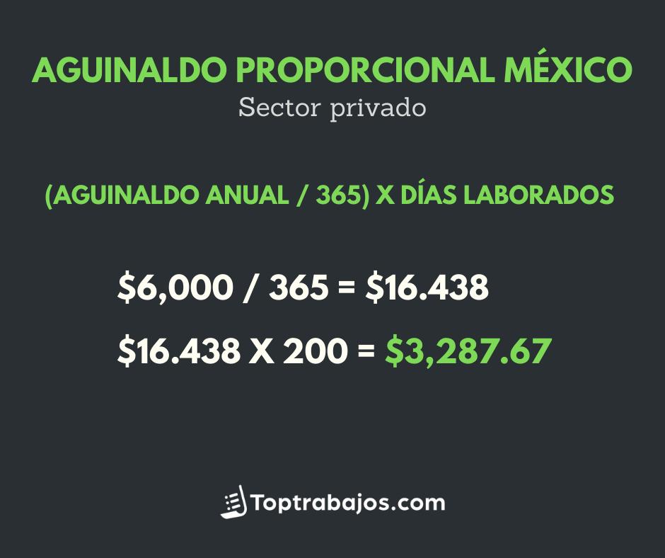 Aguinaldo proporcional en México - sector privado